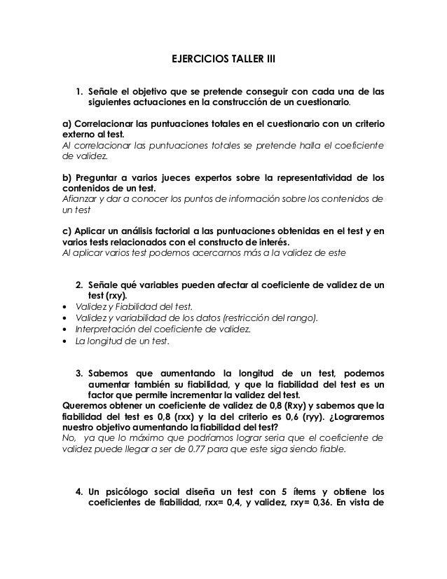 EJERCICIOS TALLER III 1. Señale el objetivo que se pretende conseguir con cada una de las siguientes actuaciones en la con...