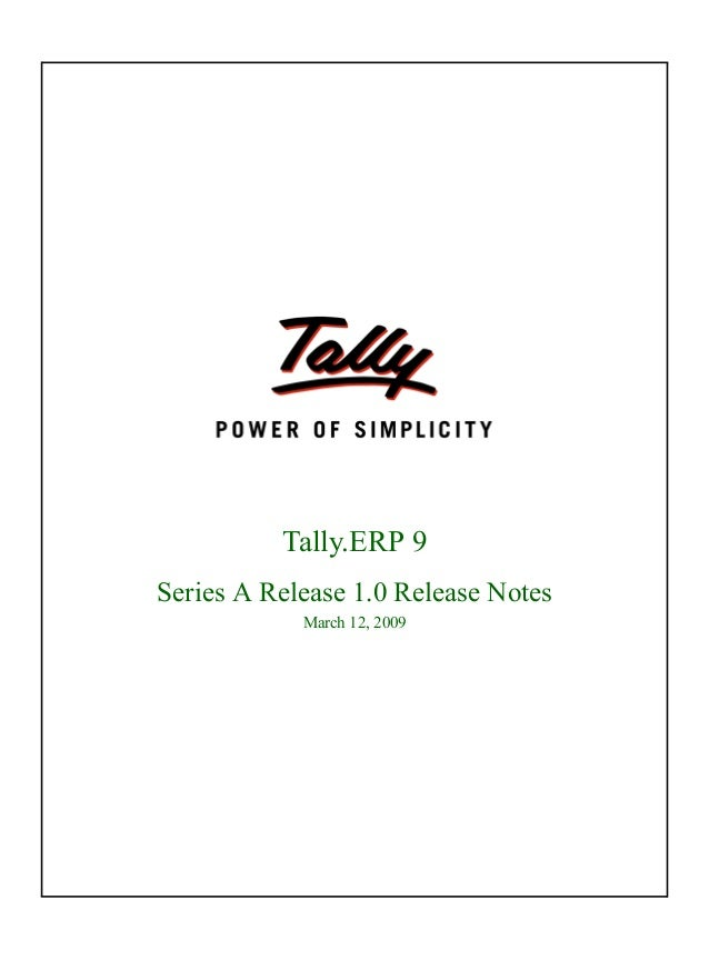 Tally.erp 9 release notes
