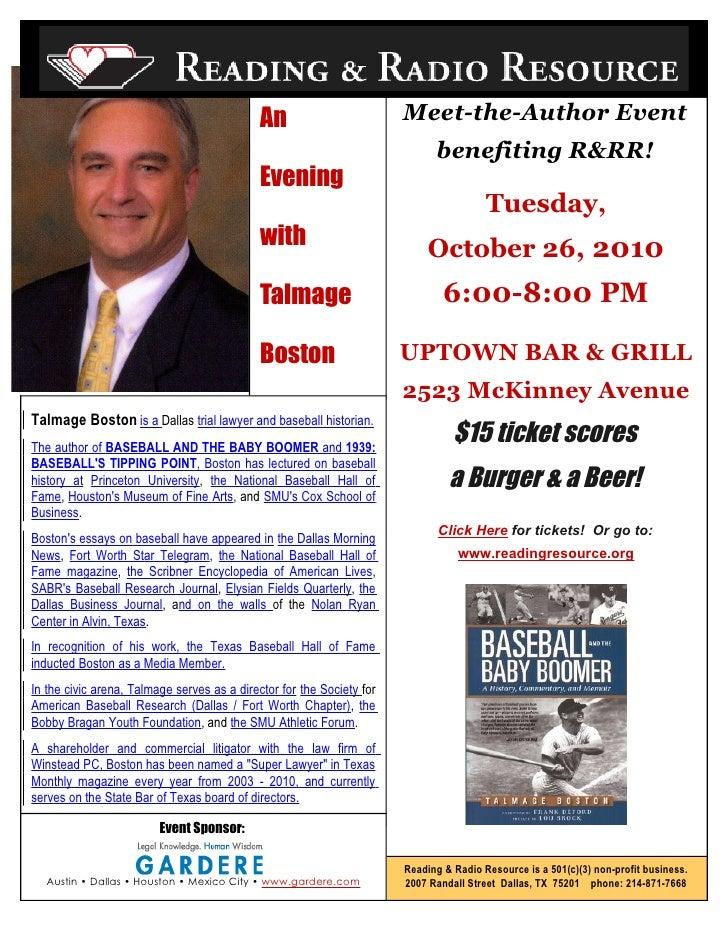 Meet Talmage Boston at Uptown Bar & Grill 10/26