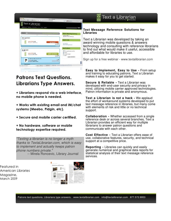 Review Mosio's Text a Librarian - Mobile Reference Information One Sheet