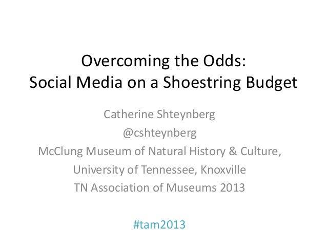 Overcoming the Odds:Social Media on a Shoestring Budget           Catherine Shteynberg                @cshteynberg McClung...