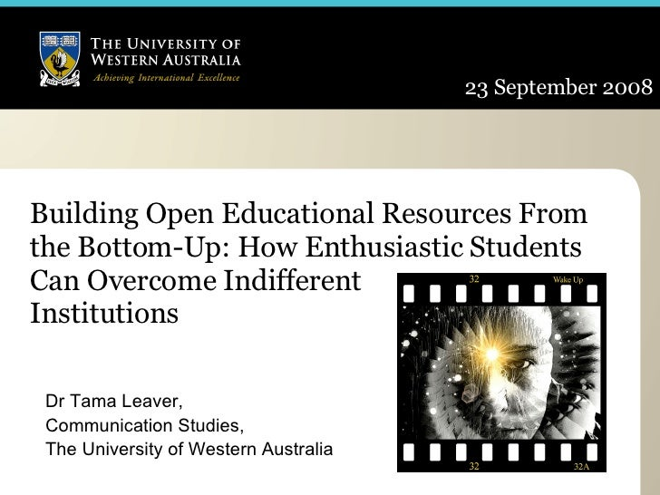 Building Open Educational Resources From the Bottom-Up: How Enthusiastic Students Can Overcome Indifferent  Institutions  ...