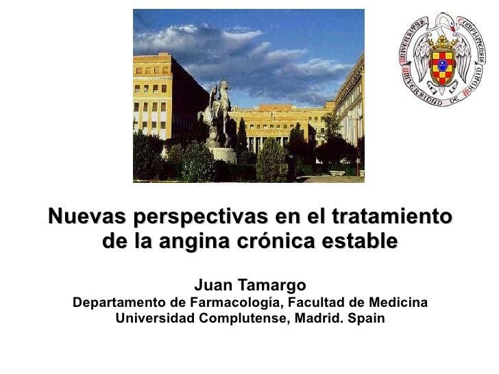 Nu evas perspectivas  en el tratamiento de la angin a crónica estable Juan Tamargo Departamento de Farmacología, Facultad ...