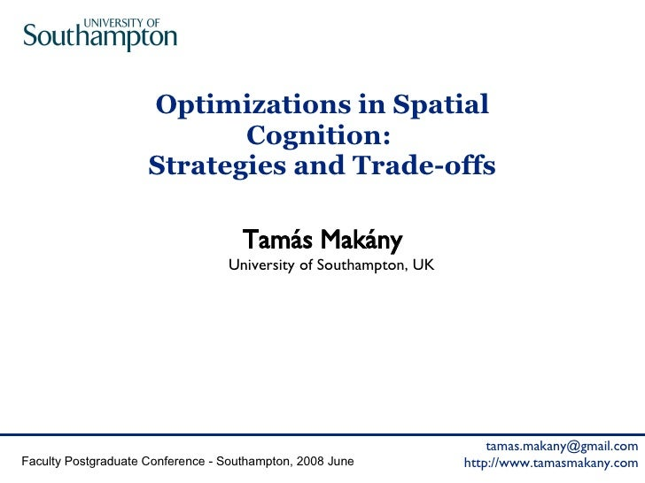 Optimizations in Spatial Cognition:  Strategies and Trade-offs