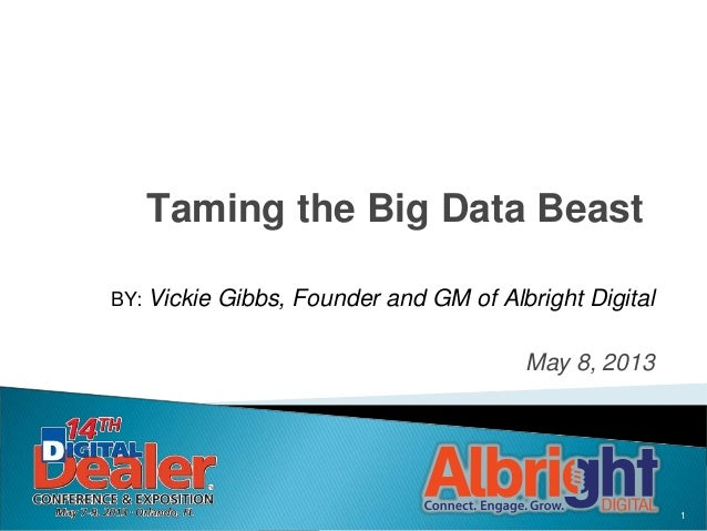 1Taming the Big Data BeastBY: Vickie Gibbs, Founder and GM of Albright DigitalMay 8, 2013
