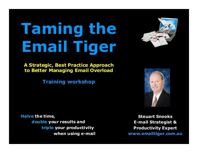 Taming the Email Tiger A Strategic, Best Practice Approach to Better Managing Email Overload Training workshop Halve the t...