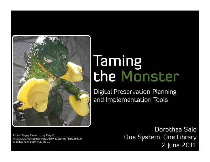 Taming the Monster: Digital Preservation Planning and Implementation Tools