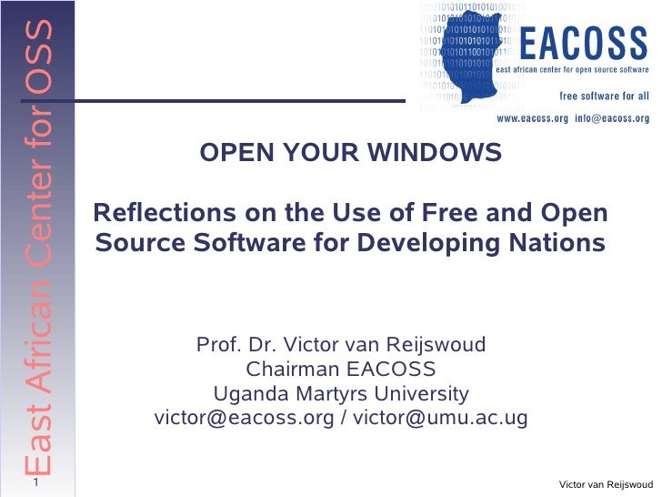 East African Center for OSS                                      OPEN YOUR WINDOWS                              Reflection...