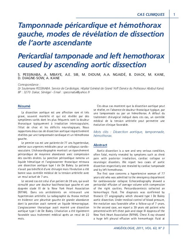 CAS CLINIQUES  Tamponnade péricardique et hémothorax gauche, modes de révélation de dissection de l'aorte ascendante Peric...