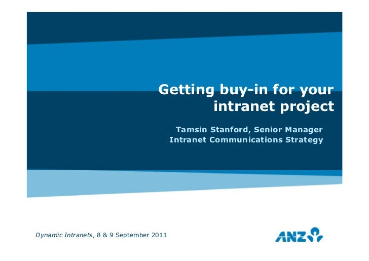 Getting buy-in for your                                           intranet project                                        ...