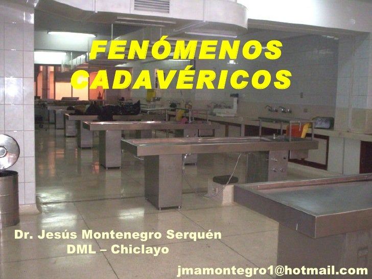 FENÓMENOS       CADAVÉRICOSDr. Jesús Montenegro Serquén        DML – Chiclayo                      jmamontegro1@hotmail.com