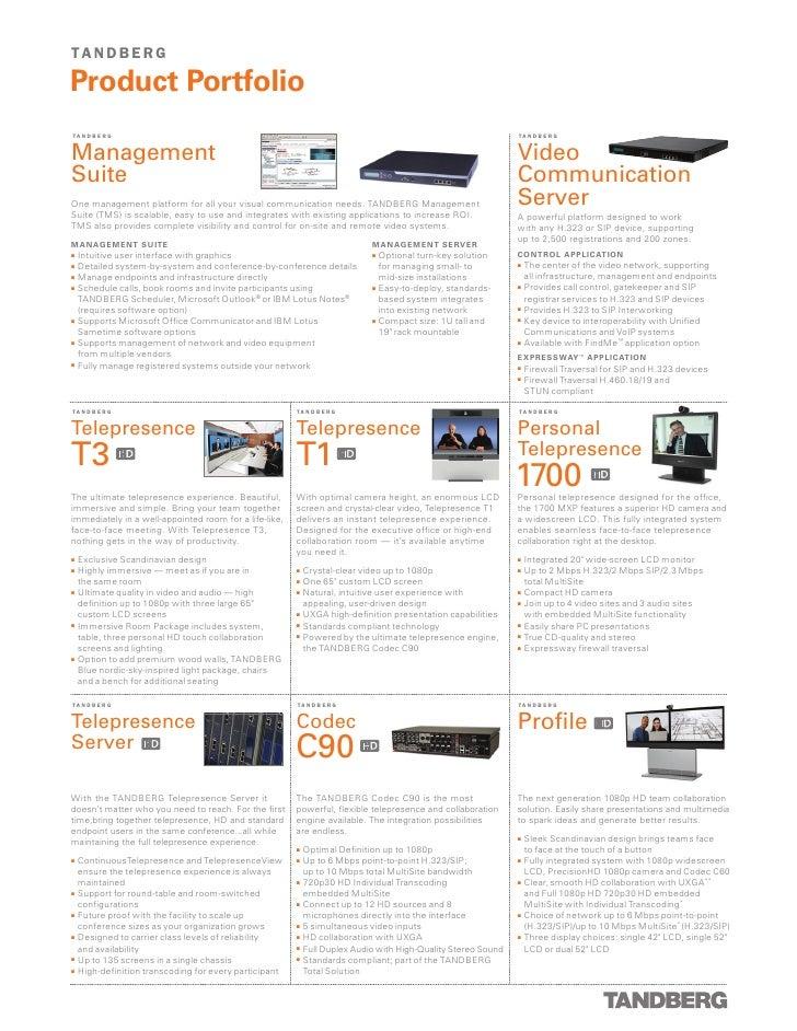 TANDBERG Video Conferencing Product Portfolio
