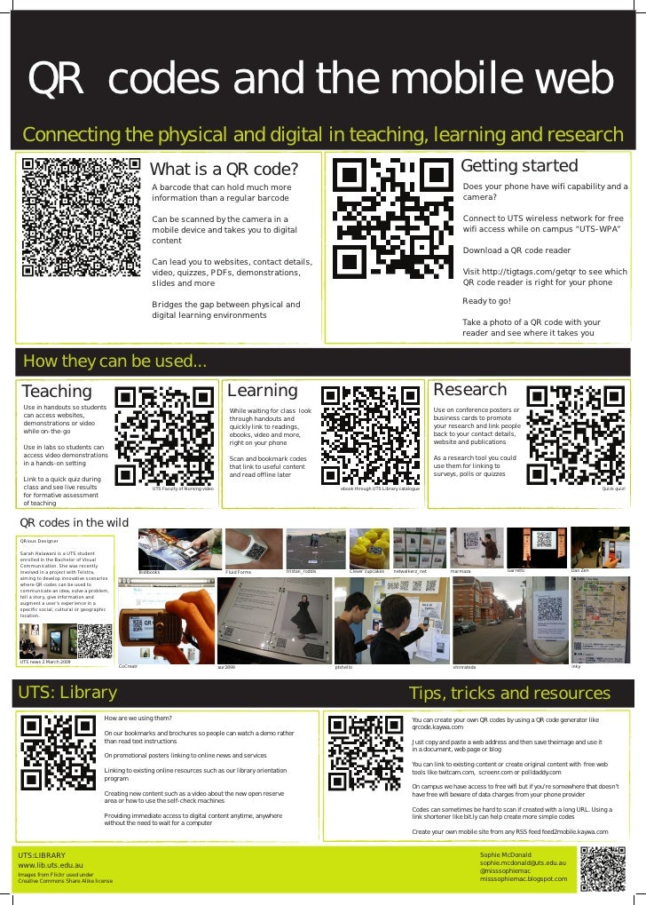 QR codes and the mobile web  Connecting the physical and digital in teaching, learning and research                       ...
