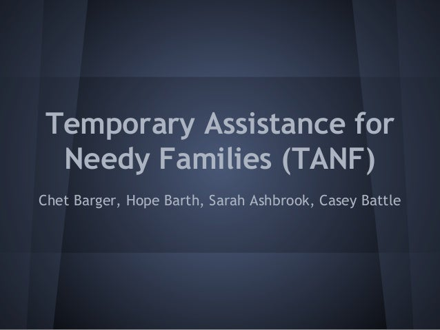 Temporary Assistance for Needy Families (TANF) Chet Barger, Hope Barth, Sarah Ashbrook, Casey Battle