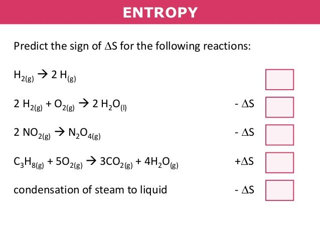 how to predict the sign of enthalpy change
