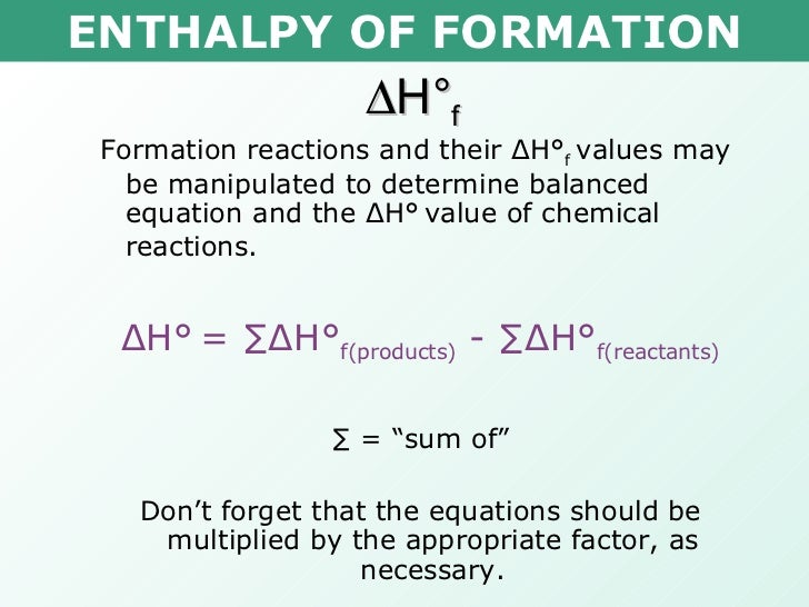 Image Gallery Enthalpy Formula