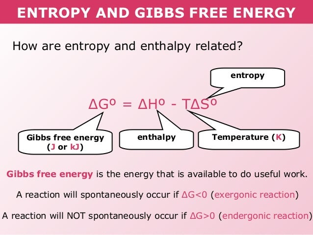 How is gibbs free energy related to enthalpy and entropy? | Socratic