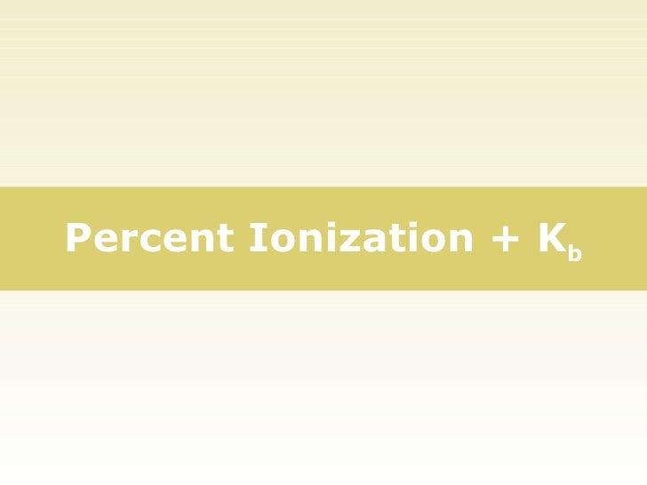 Percent Ionization + K b