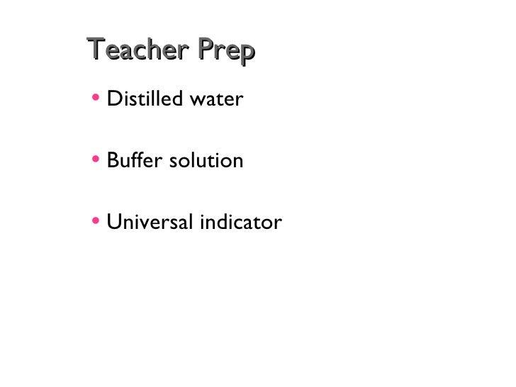 Teacher Prep <ul><li>Distilled water </li></ul><ul><li>Buffer solution </li></ul><ul><li>Universal indicator </li></ul>