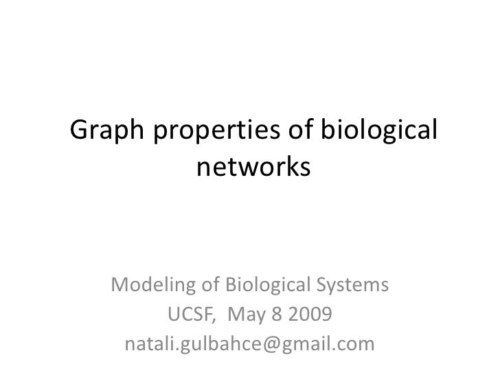 Graph properties of biological          networks      Modeling of Biological Systems          UCSF, May 8 2009     natali....