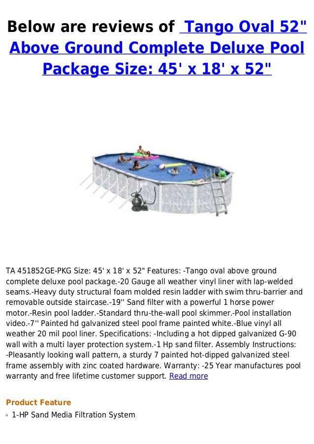 Tango Oval 52 Above Ground Complete Deluxe Pool Package Size 45 X 1