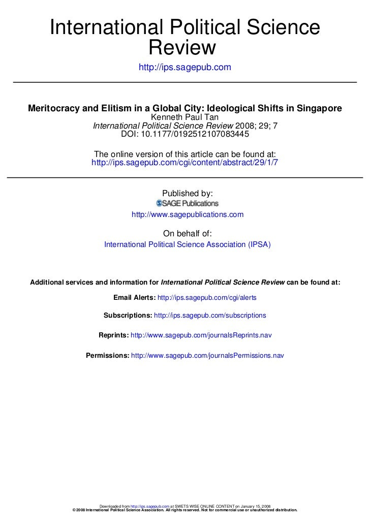 Meritocracy and Elitism in a Global City: Ideological Shifts in Singapore