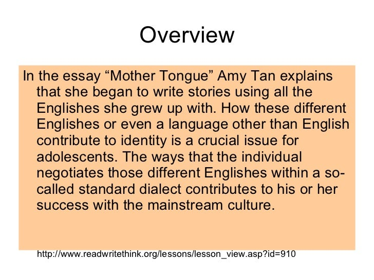 critical essay mother tongue amy tan