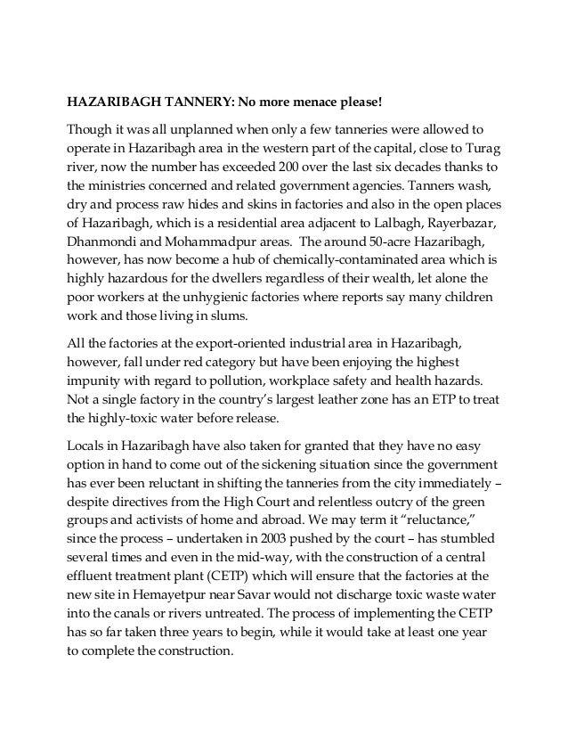 HAZARIBAGH TANNERY: No more menace please!Though it was all unplanned when only a few tanneries were allowed tooperate in ...