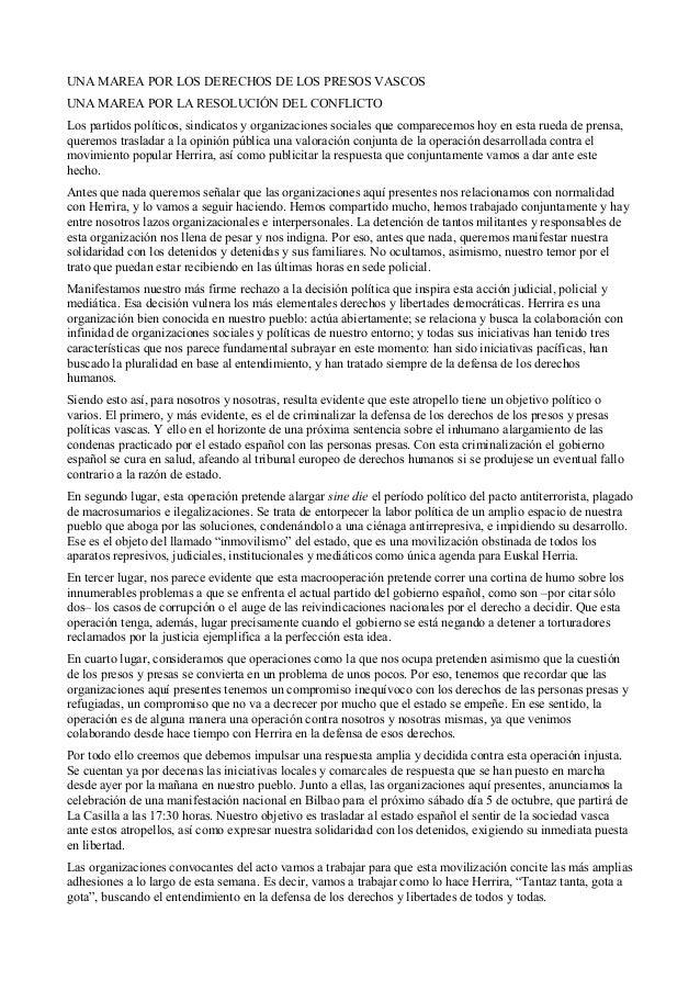 UNA MAREA POR LOS DERECHOS DE LOS PRESOS VASCOS UNA MAREA POR LA RESOLUCIÓN DEL CONFLICTO Los partidos políticos, sindicat...