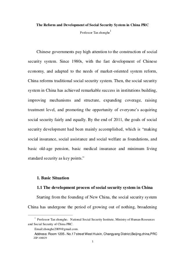 The Reform and Development of Social Security System in China PRC                                                         ...