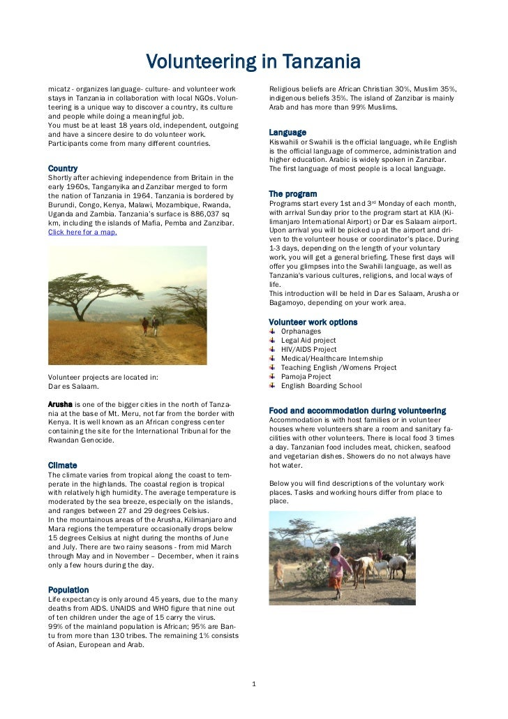 Volunteering in Tanzaniamicatz - organizes language- culture- and volunteer work         Religious beliefs are African Chr...