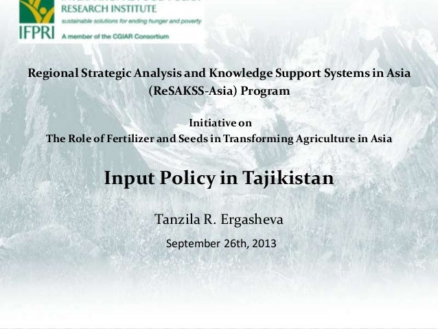Regional Strategic Analysis and Knowledge Support Systems in Asia (ReSAKSS-Asia) Program Initiative on The Role of Fertili...
