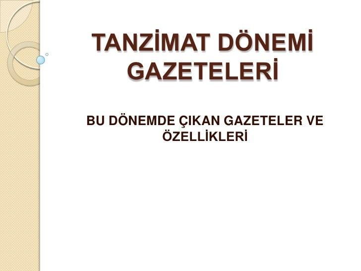 Tanzimat dönemi gazeteleri