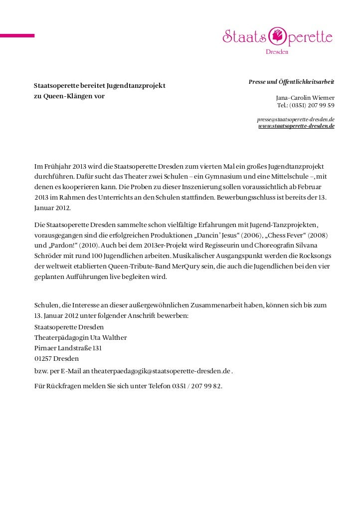 Presse und ÖffentlichkeitsarbeitStaatsoperette bereitet Jugendtanzprojektzu Queen-Klängen vor                             ...