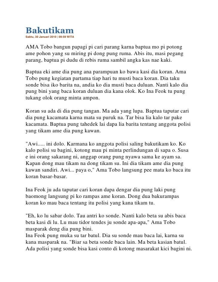Bakutikam <br />Sabtu, 30 Januari 2010   09:59 WITA<br />AMA Tobo bangun papagi pi cari parang karna baptua mo pi potong a...