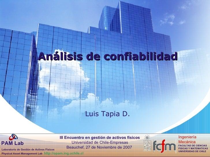 Luis Tapia D. Análisis de confiabilidad