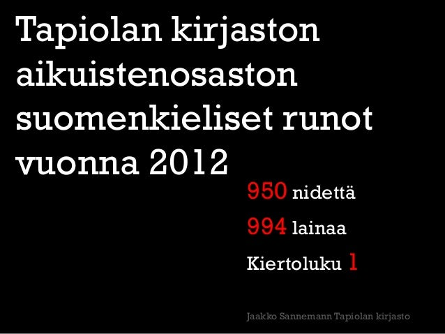 Tapiolan kirjastonaikuistenosastonsuomenkieliset runotvuonna 2012            950 nidettä            994 lainaa            ...