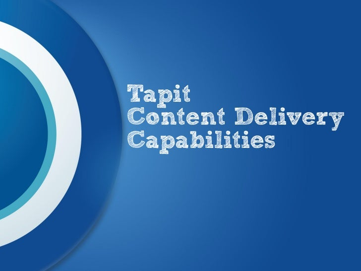 TapitContent DeliveryCapabilities