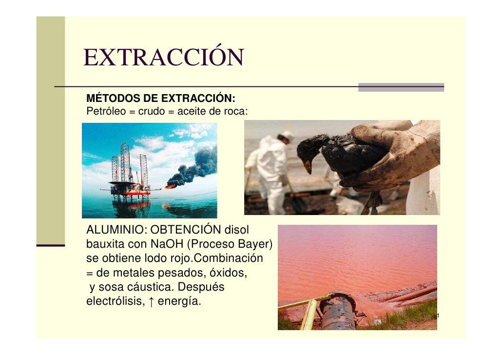 EXTRACCIÓNMÉTODOS DE EXTRACCIÓN:Petróleo = crudo = aceite de roca:ALUMINIO: OBTENCIÓN disolbauxita con NaOH (Proceso Bayer...