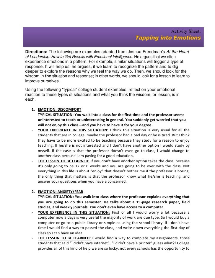 Activity Sheet:                                                                Tapping into EmotionsDirections: The follow...
