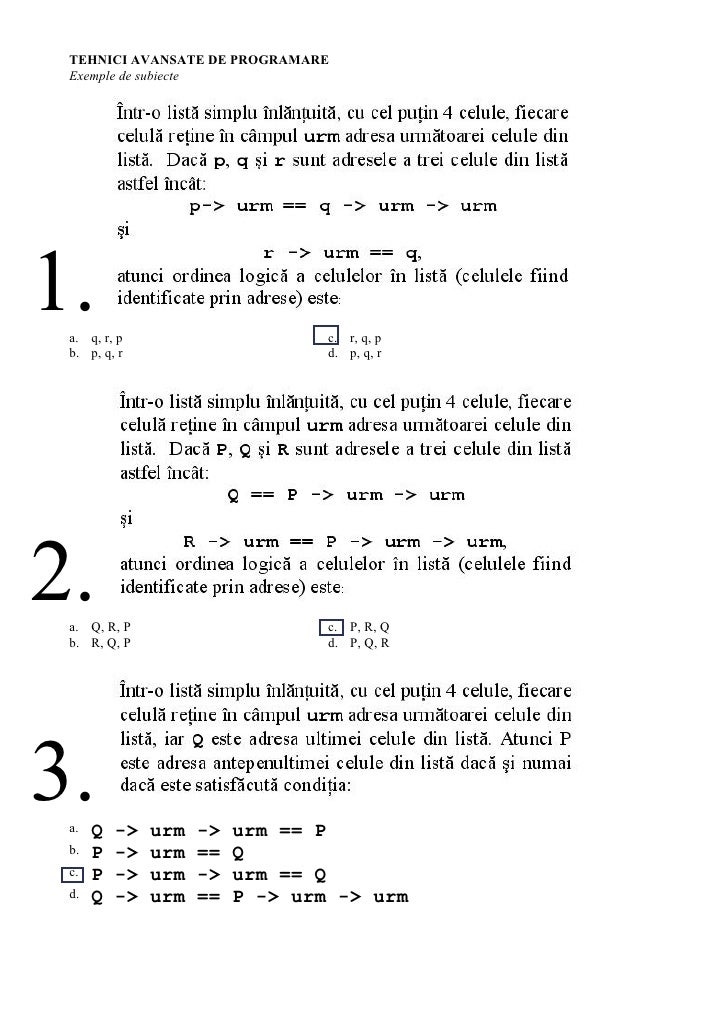 TEHNICI AVANSATE DE PROGRAMARE  Exemple de subiecte     1.  a. q, r, p                       c. r, q, p  b. p, q, r       ...