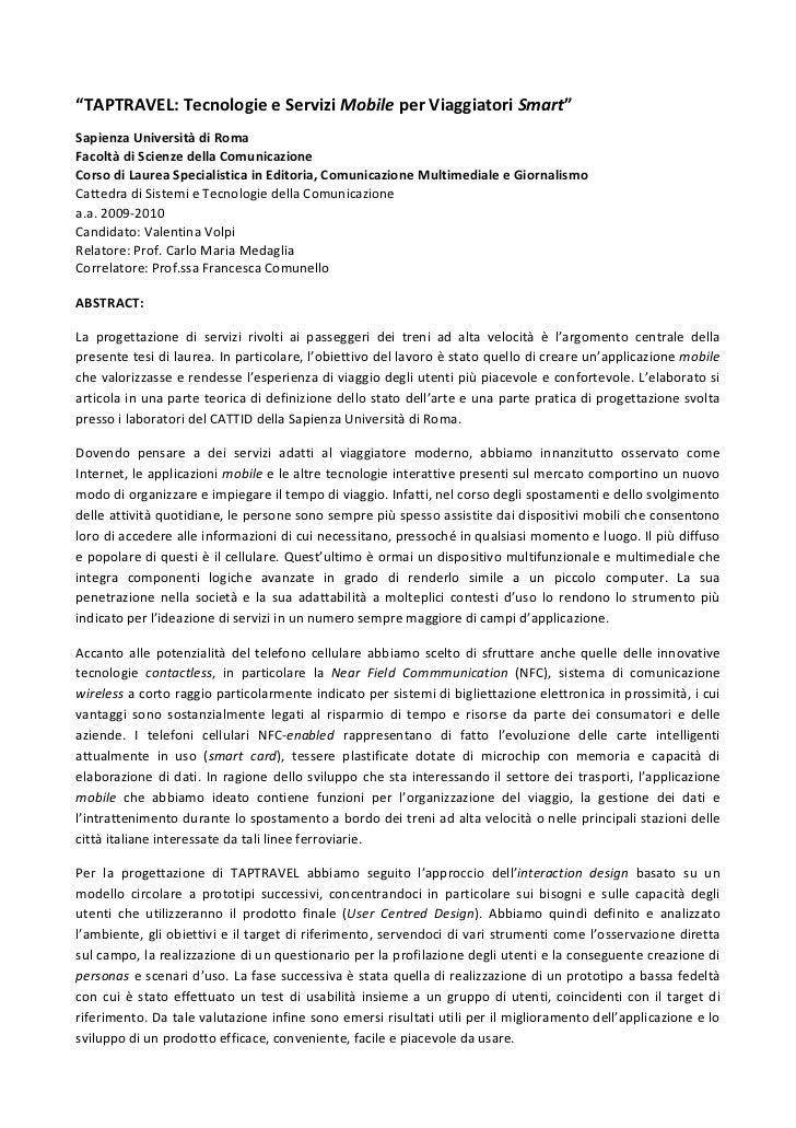 """""""TAPTRAVEL: Tecnologie e Servizi Mobile per Viaggiatori Smart"""" Sapienza Università di Roma Facoltà di Scienz..."""