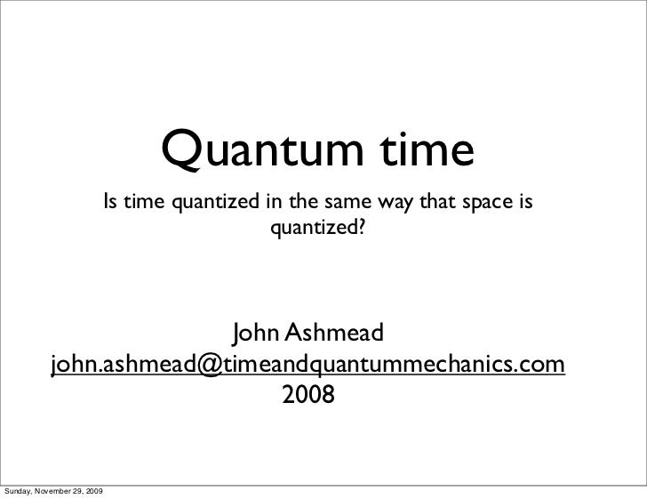 Time & Quantum Mechanics