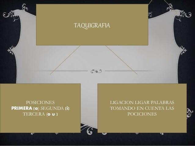 TAQUIGRAFIA POSICIONES PRIMERA (a) SEGUNDA (i) TERCERA (o u ) LIGACION LIGAR PALABRAS TOMANDO EN CUENTA LAS POCICIONES