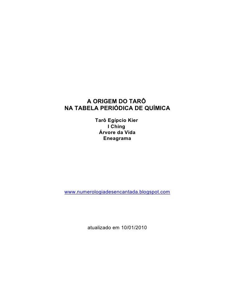 Tarô   A Origem Na Tabela PerióDica De QuíMica