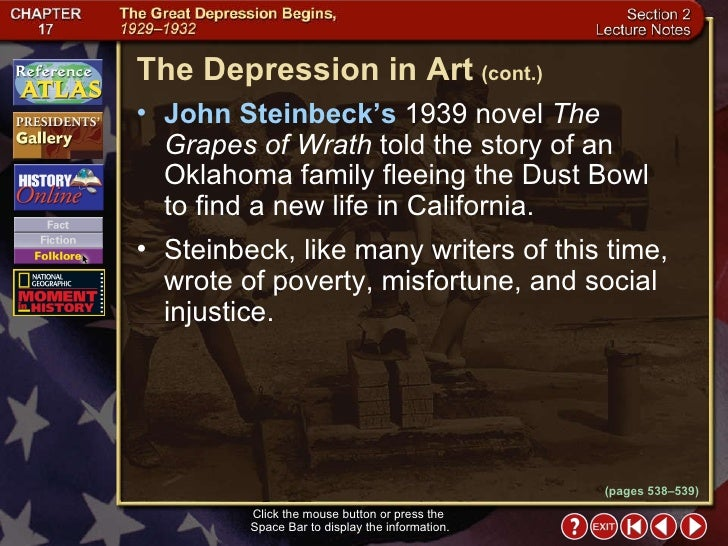 the style and technique used in the novel the grape of wrath by john steinbeck John steinbeck's novels the grapes of wrath and of mice and men enable readers to capture a glimpse of the time of the great depression in.