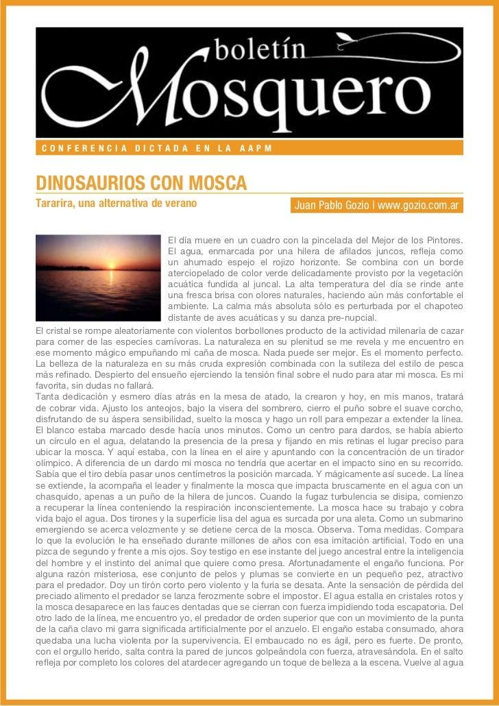 CONFERENCIA DICTADA EN LA AAPMDINOSAURIOS CON MOSCATararira, una alternativa de verano                             Juan Pa...