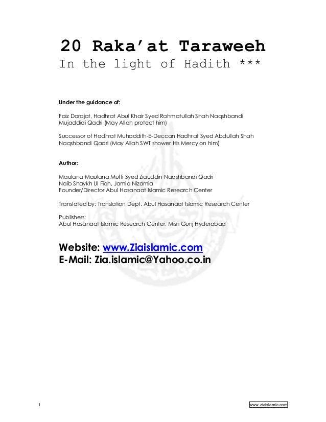 20 Raka'at Taraweeh In the light of Hadith *** Under the guidance of: Faiz Darajat, Hadhrat Abul Khair Syed Rahmatullah Sh...