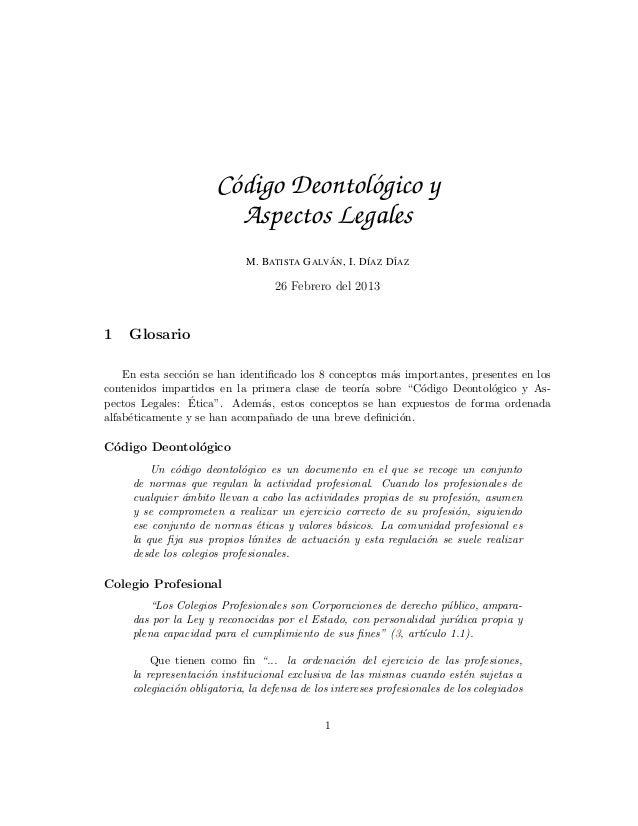 Codigo Deontologico y Aspectos Legales: Conceptos y Examen Tipo Test