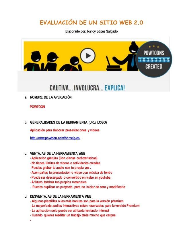 DE UN SITIO WEB 2.0Elaborado por: Nancy López Salgadoa. NOMBRE DE ...
